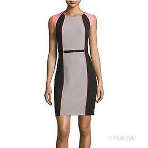 TAHARI Color Block Sheath Dress Gray Black Pink